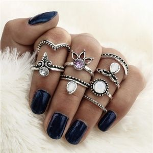 NEW! WOMEN'S BOHO BUCKLE RING SET 8 PC SET
